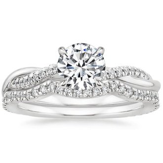 18k white gold petite twisted vine contoured diamond bridal set - Engagement And Wedding Ring Sets
