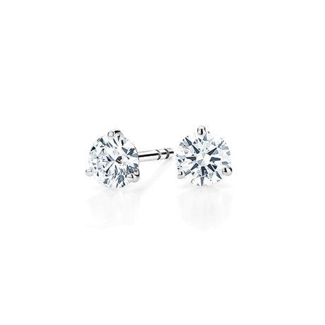 ee4fdb26b Three-prong Martini Round Diamond Stud Earrings in 18K White Gold