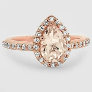 14K Rose Gold Sapphire Fancy Halo Diamond Ring with Side Stones (2/5 ct. tw.)