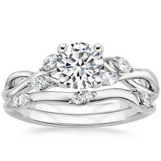 18k white gold - White Gold Wedding Rings Sets