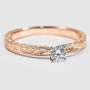14K Rose Gold Hand-Engraved Laurel Ring