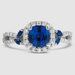 Platinum Sapphire Luxe Willow Halo Diamond Ring (1/2 ct. tw.)