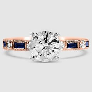 14K Rose Gold Vintage Sapphire and Diamond Ring