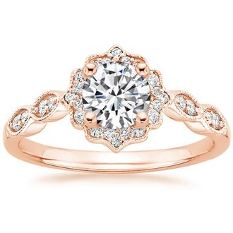 14K Rose Gold. CADENZA HALO DIAMOND RING