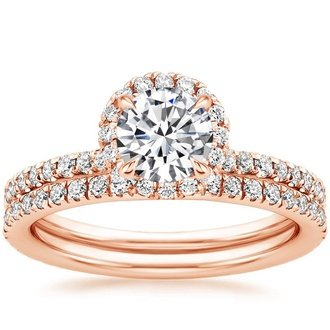 14k rose gold waverly diamond bridal set - Rose Gold Wedding Ring Sets