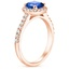 14K Rose Gold Sapphire Fancy Halo Diamond Ring with Side Stones (2/5 ct. tw.), smallside view