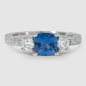 18K White Gold Sapphire Antique Scroll Three Stone Trellis Diamond Ring (1/3 ct. tw.)