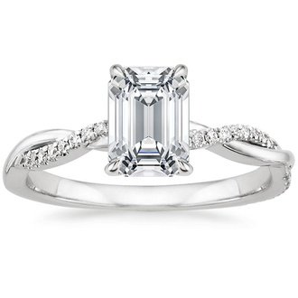 18k white gold petite twisted vine diamond ring - Emerald Cut Wedding Rings
