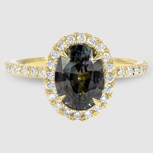 18K Yellow Gold Sapphire Waverly Diamond Ring