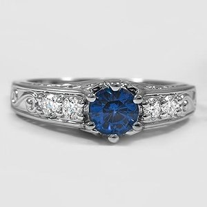 18K White Gold Sapphire Art Deco Filigree Diamond Ring (1/4 ct. tw.)