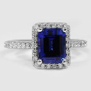 18K White Gold Sapphire Fancy Halo Diamond Ring with Side Stones (2/5 ct. tw.)