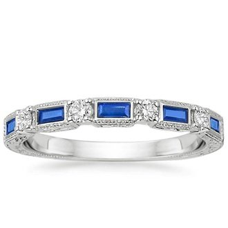 18k white gold vintage sapphire and diamond ring - Sapphire Wedding Rings