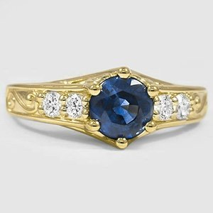 18K Yellow Gold Sapphire Art Deco Filigree Diamond Ring (1/4 ct. tw.)