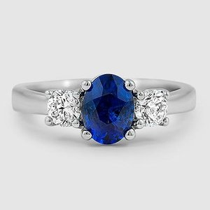 Platinum Sapphire Three Stone Diamond Trellis Ring (1/2 ct. tw.)