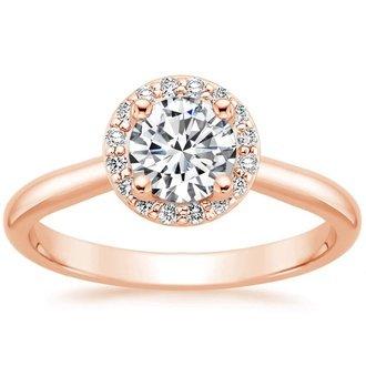14K Rose Gold. HALO DIAMOND RING ...