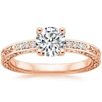 14k rose gold delicate antique scroll diamond ring - Wedding Rings Rose Gold