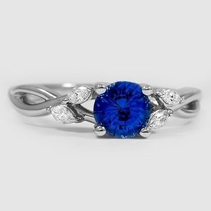 Platinum Sapphire Willow Diamond Ring (1/8 ct. tw.)