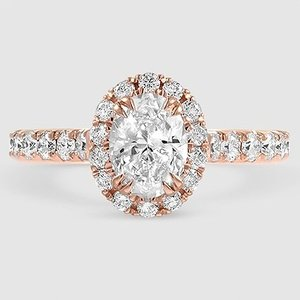 14K Rose Gold Luxe Sienna Halo Diamond Ring