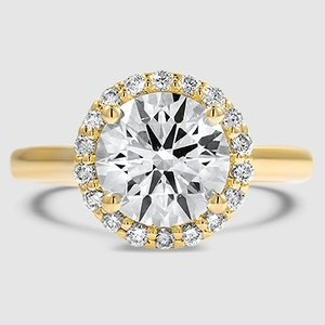 18K Yellow Gold Halo Diamond Ring (1/8 ct. tw.)