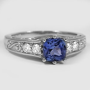 Platinum Sapphire Art Deco Filigree Diamond Ring (1/4 ct. tw.)