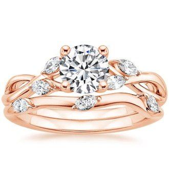 14k rose gold - Rose Gold Wedding Ring Sets
