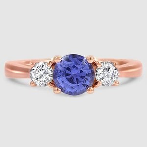 14K Rose Gold Sapphire Petite Three Stone Trellis Ring (1/3 ct. tw.)