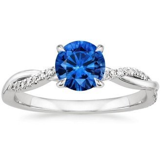 18K White Gold SAPPHIRE. PETITE TWISTED VINE DIAMOND RING