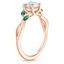 14K Rose Gold Willow Ring With Lab Emerald Accents, smallside view