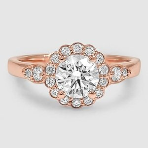 14K Rose Gold Camillia Diamond Ring