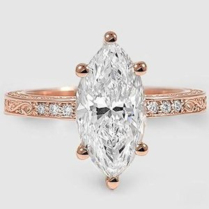 14K Rose Gold Delicate Antique Scroll Diamond Ring
