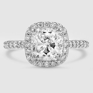 18K White Gold Fancy Halo Diamond Ring with Side Stones (2/5 ct. tw.)