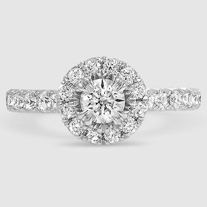 18K White Gold Luxe Sienna Halo Diamond Ring