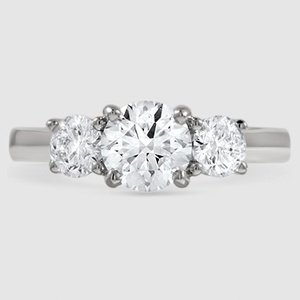 Platinum Three Stone Trellis Diamond Ring