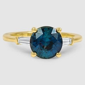 18K Yellow Gold Sapphire Tapered Baguette Diamond Ring