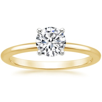 18K Yellow Gold Four-Prong Petite Comfort Fit Ring