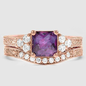 14K Rose Gold Sapphire Adorned Trio Diamond Bridal Set (1/4 ct. tw.)