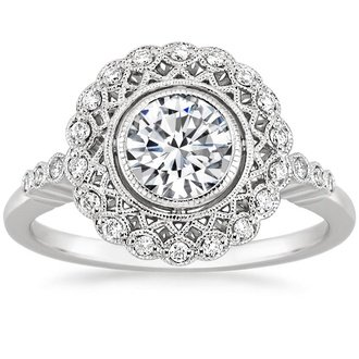18k white gold alvadora diamond ring - Antique Style Wedding Rings