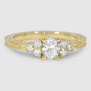 18K Yellow Gold Adorned Trio Diamond Ring