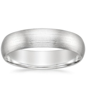 18k white gold 5mm matte comfort fit wedding ring - Wedding Ring Mens
