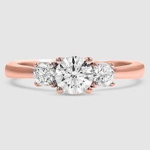 14K Rose Gold Petite Three Stone Trellis Diamond Ring (1/3 ct. tw.)