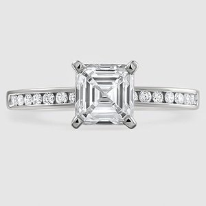 18K White Gold Petite Channel Set Round Diamond Ring