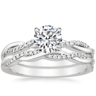 Platinum Petite Twisted Vine Diamond Bridal Set (1/4 ct. tw.)