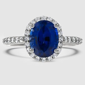 Platinum Sapphire Fancy Halo Diamond Ring with Side Stones (2/5 ct. tw.)