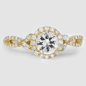 18K Yellow Gold Sapphire Luxe Willow Halo Diamond Ring (1/2 ct. tw.)