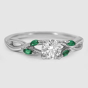 Platinum Willow Ring With Lab Emerald Accents