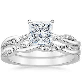 18K White Gold Petite Twisted Vine Diamond Bridal Set (1/4 ct. tw.)