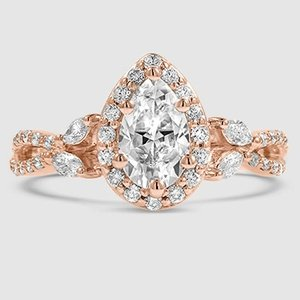 14K Rose Gold Sapphire Luxe Willow Halo Diamond Ring (1/2 ct. tw.)