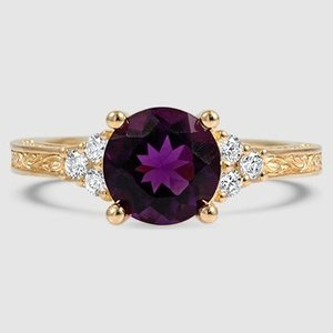 18K Yellow Gold Sapphire Adorned Trio Diamond Ring