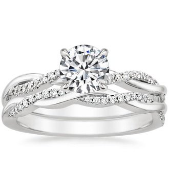 18K White Gold. PETITE TWISTED VINE DIAMOND BRIDAL SET ...