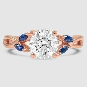 14K Rose Gold Willow Ring With Sapphire Accents